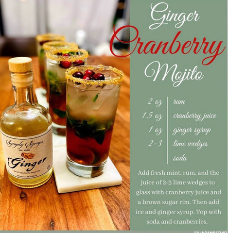 Ginger Cranberry Mojito with ginger simple syrup