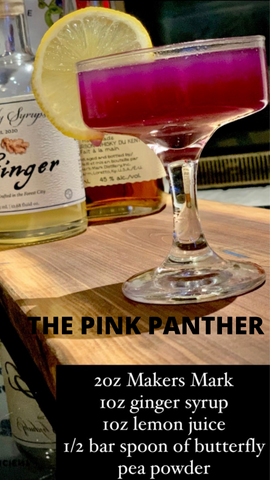 The Pink Panther Cocktail with ginger simple syrup