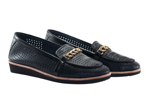 Emilia Gold-Chain Loafers