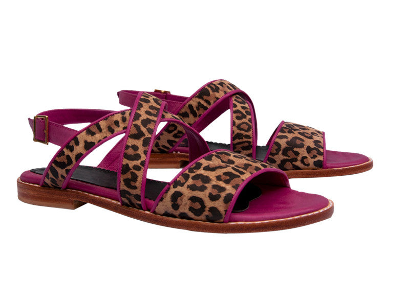 Lila Leopard Print Strappy Sandals