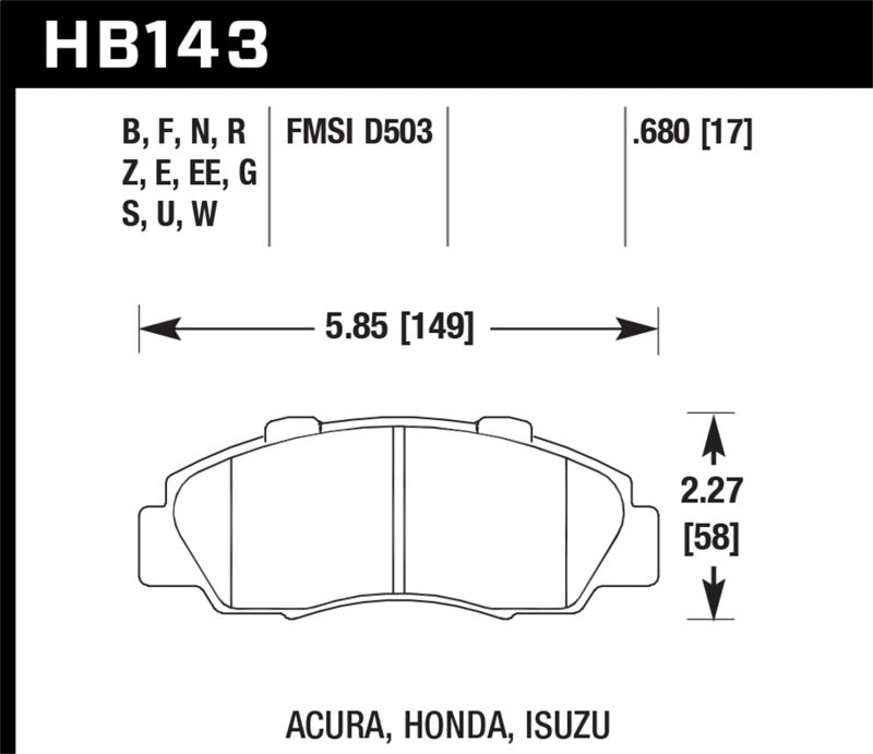 Hawk 1997-1997 Acura CL 3.0 HPS 5.0 Front Brake Pads
