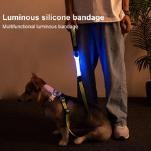 Load image into Gallery viewer, Pet LED Luminous Strap Warning Signal Flash Lamp Rope Bandage Multi-function Colorful Glowing Collar Traction Rope Dog Supplies