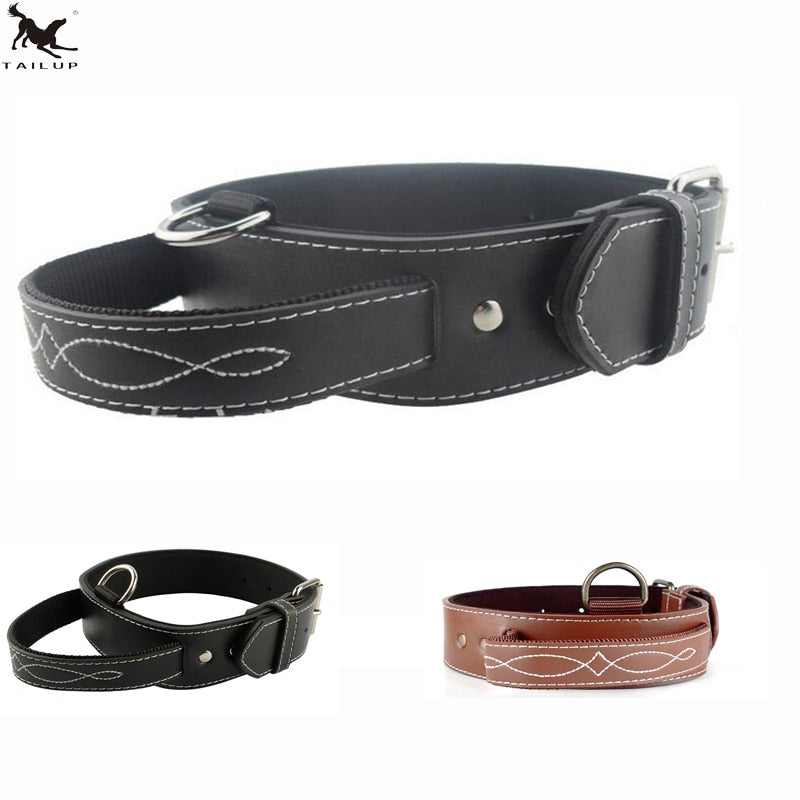 Big Dog Collar PU Leather Strong Dog Collar Leash with Handle PU Black Brown Pet Dogs Leash Collar CLPU01