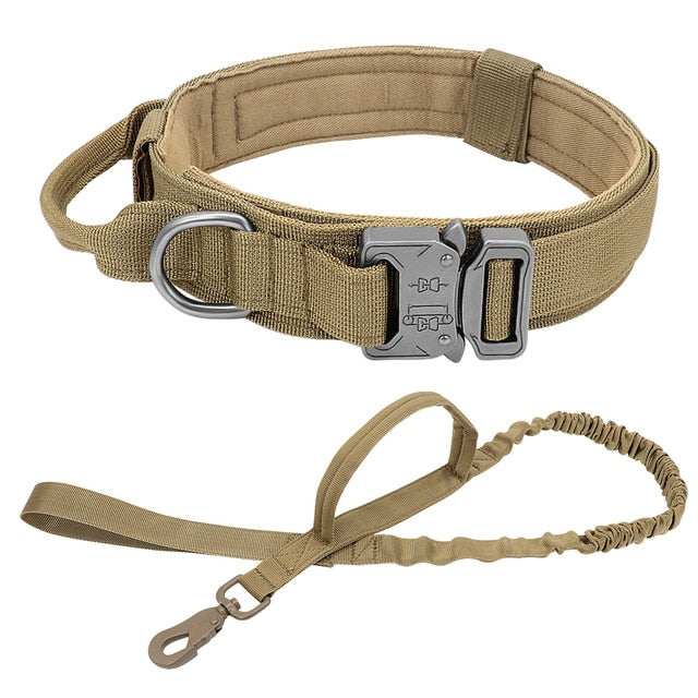 Durable Tactical Dog Collar Adjustable Nylon Military Dog Collar Leash For Medium Large Dogs German Shepherd Training Hunting