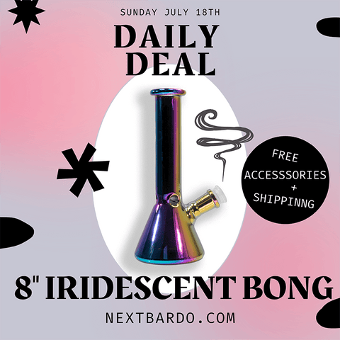"""Daily Deal Sunday July 18th   Purchase an 8"""" Iridescent Beaker and receive free accessories worth $25.00"""