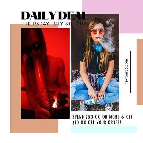 Daily Deal Thursday July 8th | Spend $50 get $10 off at Next Bardo Online Head Shop