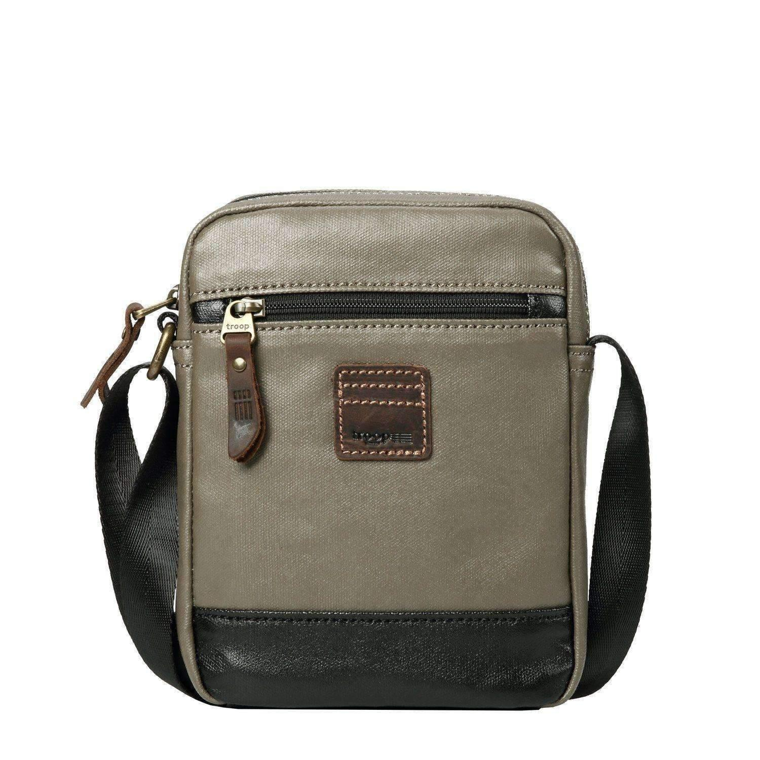 TRP0516 Troop London Heritage Coated Canvas Casual Crossbody Bag, Small Acrossbody Bag, Luggage & Bags by WYDO