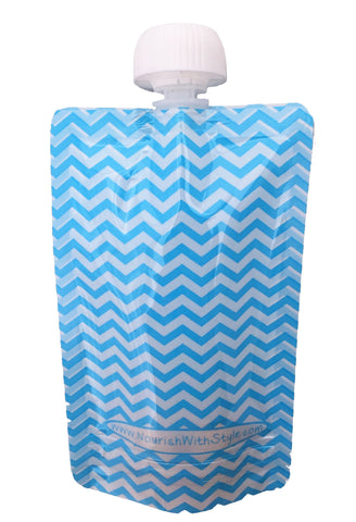 4 Pack | Blue Chevron Reusable Food Pouch