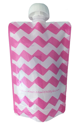 4 Pack | Pink Chevron Reusable Food Pouch