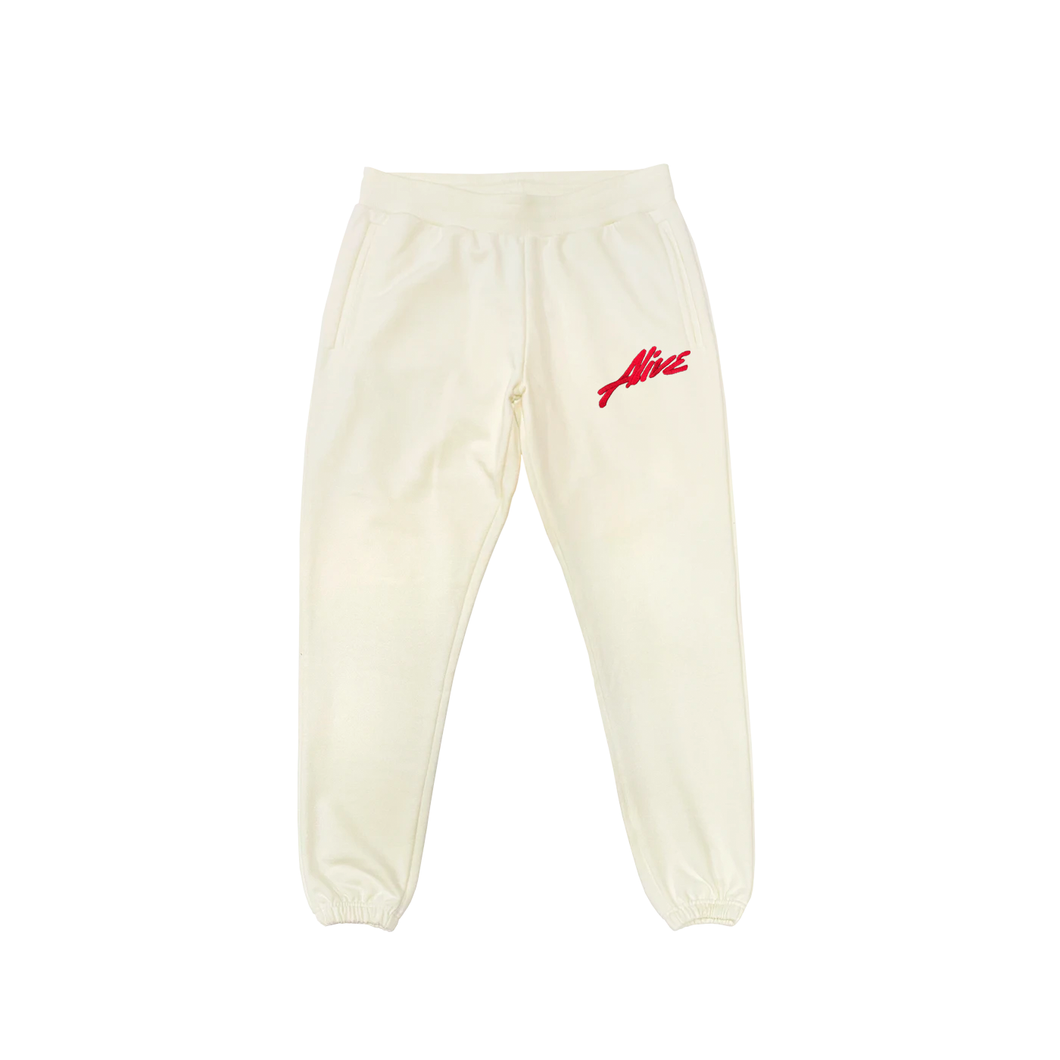 ALIVE Embroidered SWEATPANTS Signature 100% Cotton - NATURE