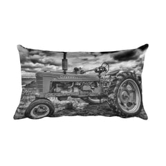 Tough as Nails Black and White Tractor Throw Pillow