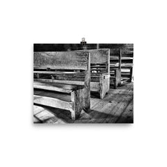 Black and White Church Pews Art Print