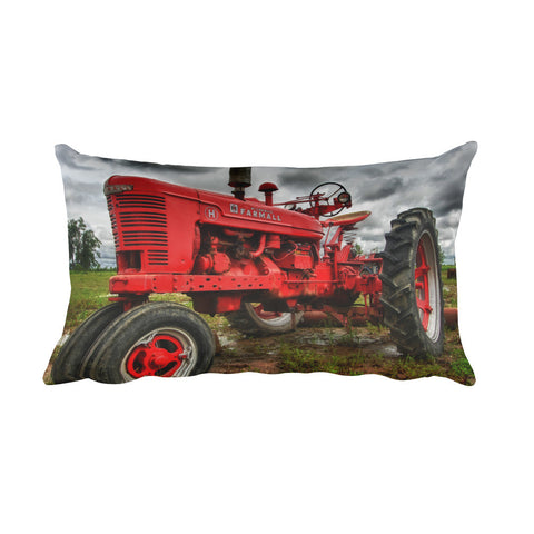The Ox Farmhouse Red Tractor Throw Pillow