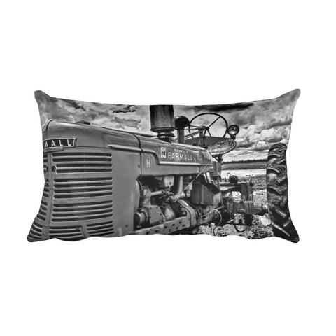 Harvest Black and White Tractor Throw Pillow
