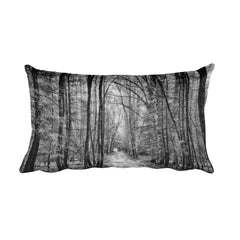 Mystical Forest Black and White Throw Pillow