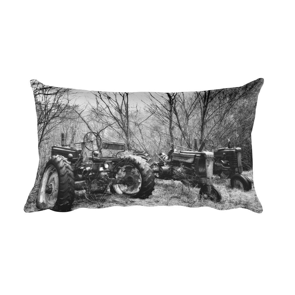 Three of a Kind Black and White Tractors Throw Pillow