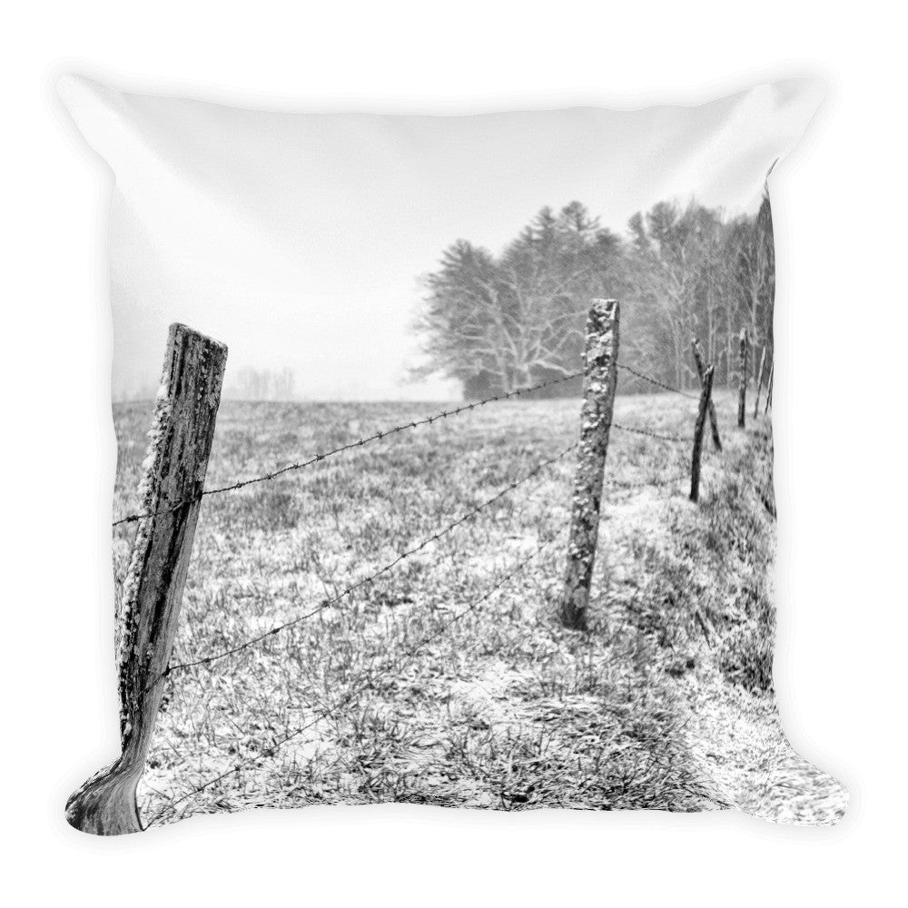 Frosted Black and White Fence Throw Pillow