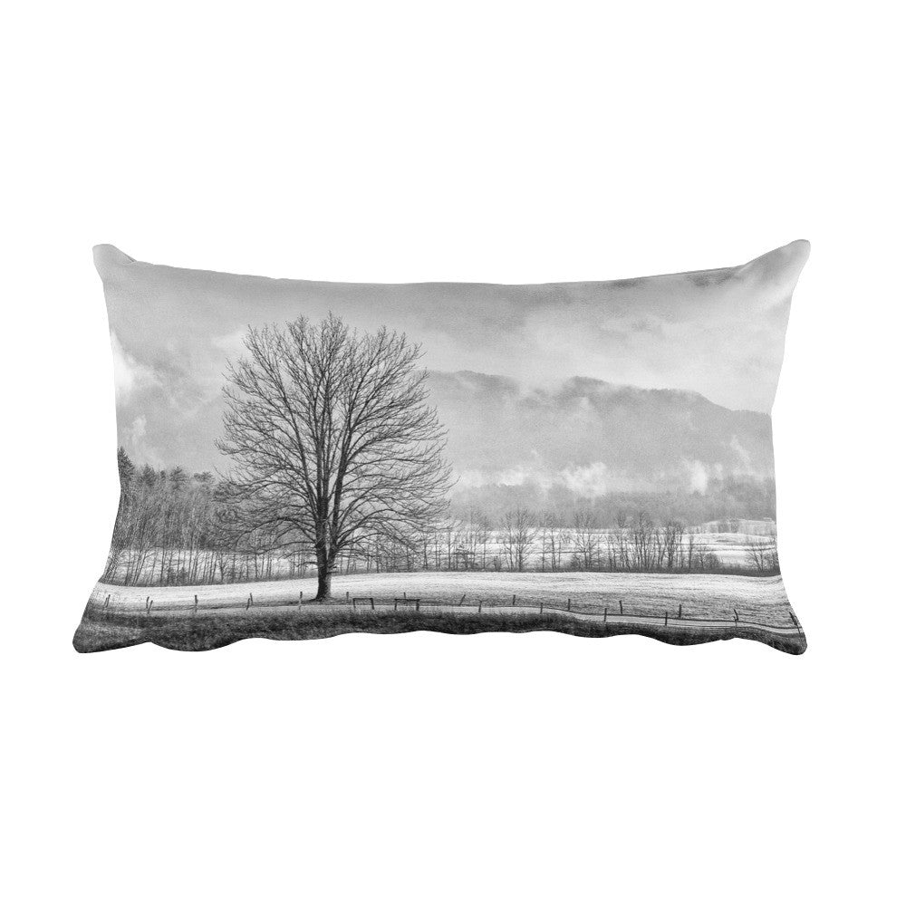 Solitude Black and White Rectangular Farmhouse Throw Pillow