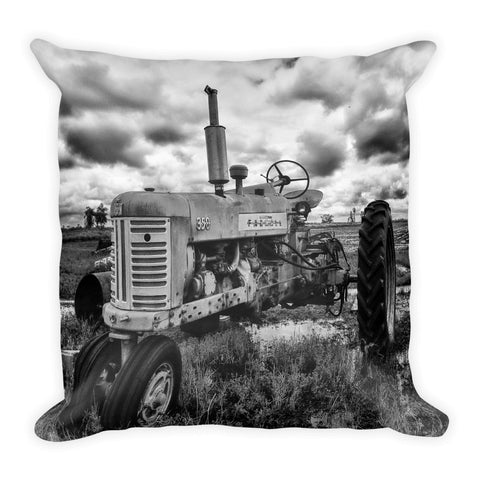 Old Steady Square Tractor Throw Pillow