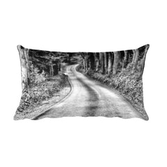 That Road Black and White Rural Throw Pillow