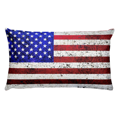 Folk Art American Flag Rectangular Pillow