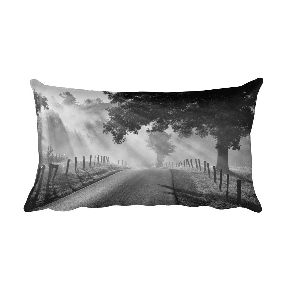 Misty Black and White Farmhouse Throw Pillow