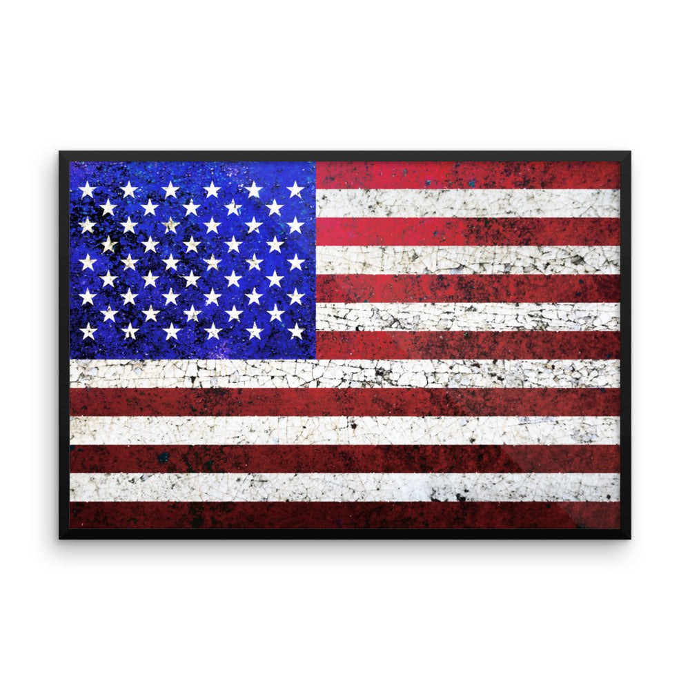Folk Art American Flag Framed Poster