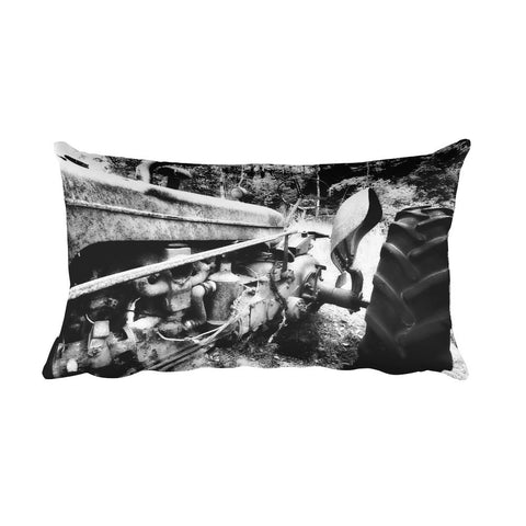 Rusted Mule Rectangular Antique Tractor Throw Pillow