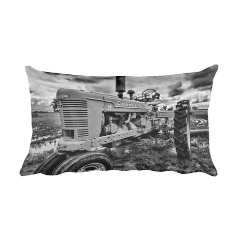 Earnest Black and White Tractor Throw Pillow
