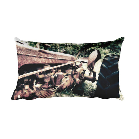 Rusted Mule Farmhouse Tractor Decorative Pillow