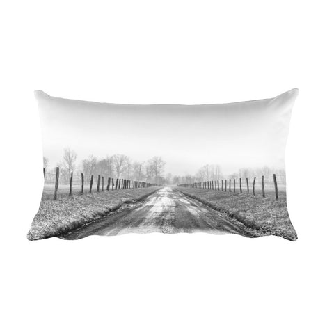 Free My Soul Black and White Country Road Throw Pillow