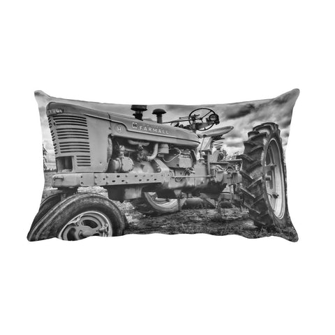 Big Red Black and White Tractor Decorative Pillow