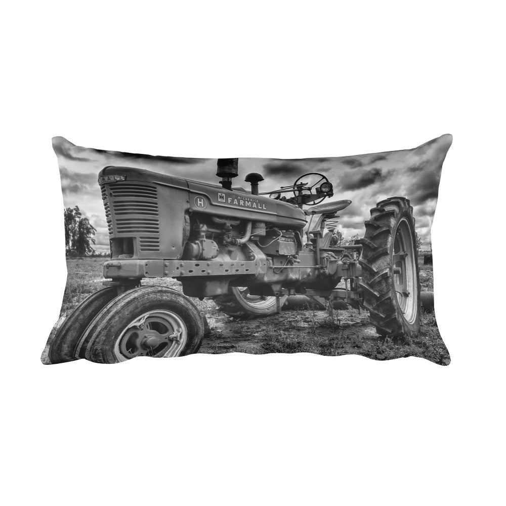 The Ox Black and White Tractor Throw Pillow