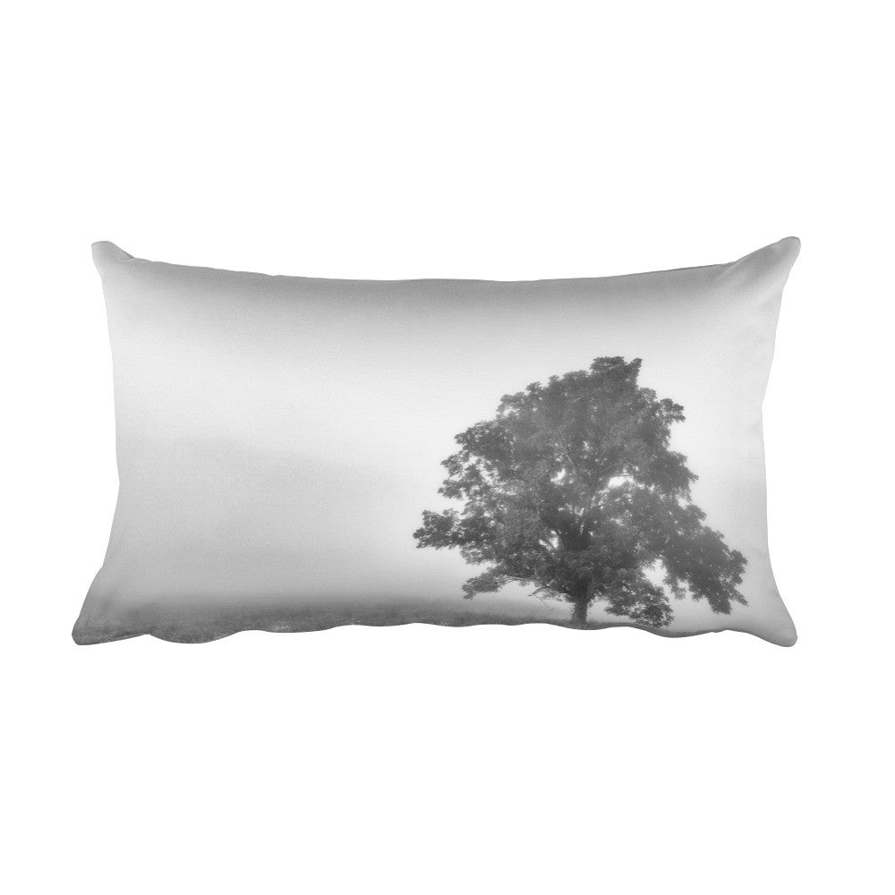 Paradise Haze Black and White Tree Throw Pillow