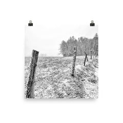 Frosted Unframed Black and White Poster
