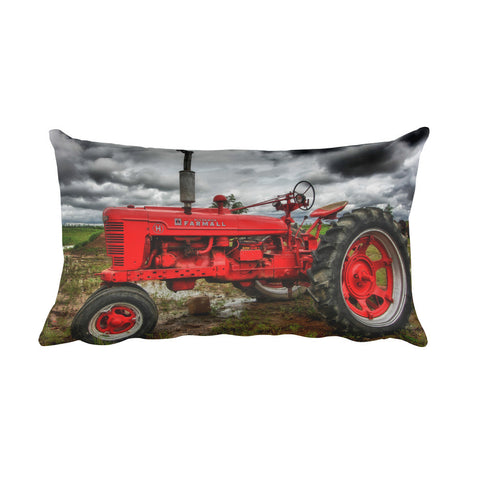 Tough as Nails Rectangular Red Tractor Throw Pillow