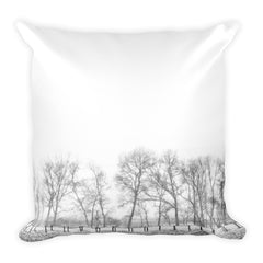 On the Outskirts Square Fence Throw Pillow