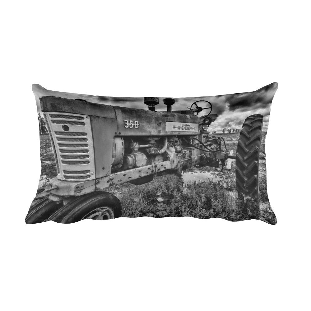 Unyielding Black and White Tractor Throw Pillow