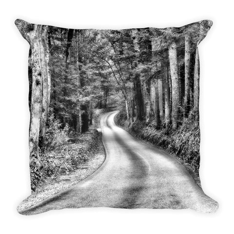 A Better Highway Black and White Square Pillow