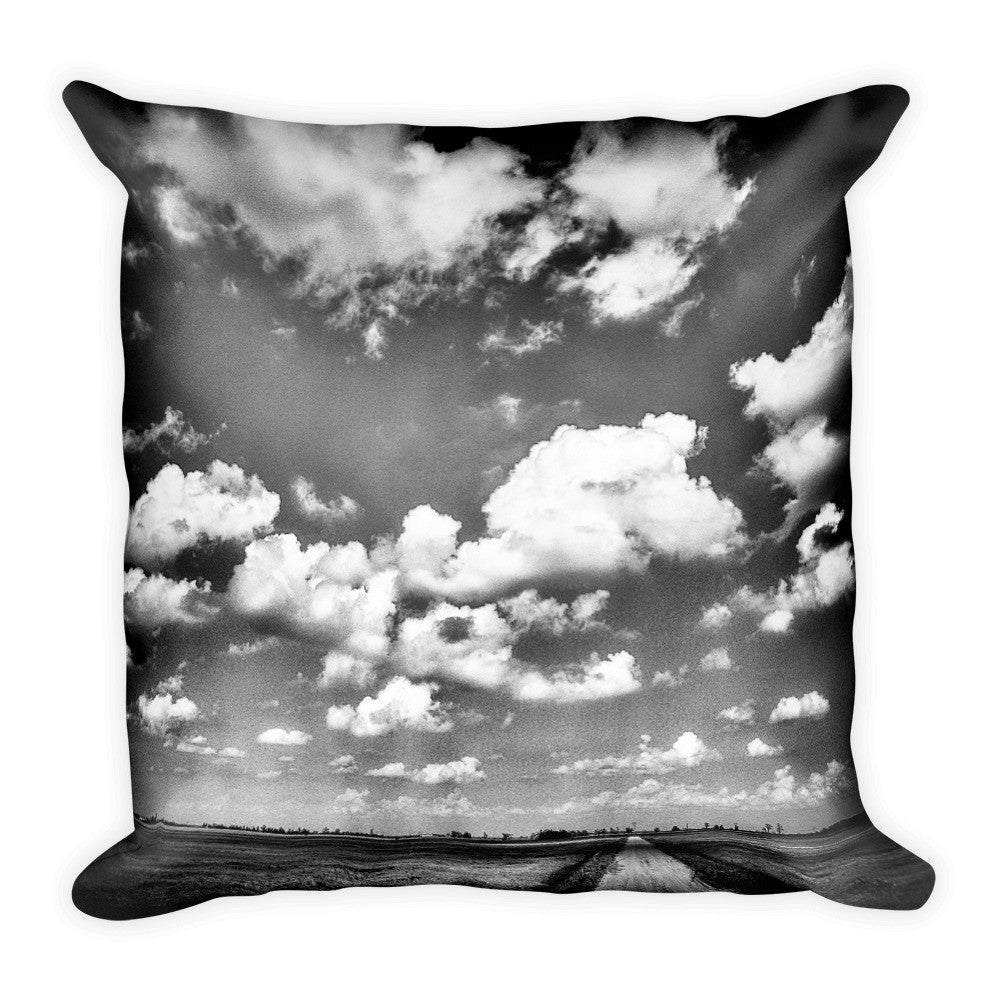 Shine Down Black and White Dirt Road Throw Pillow
