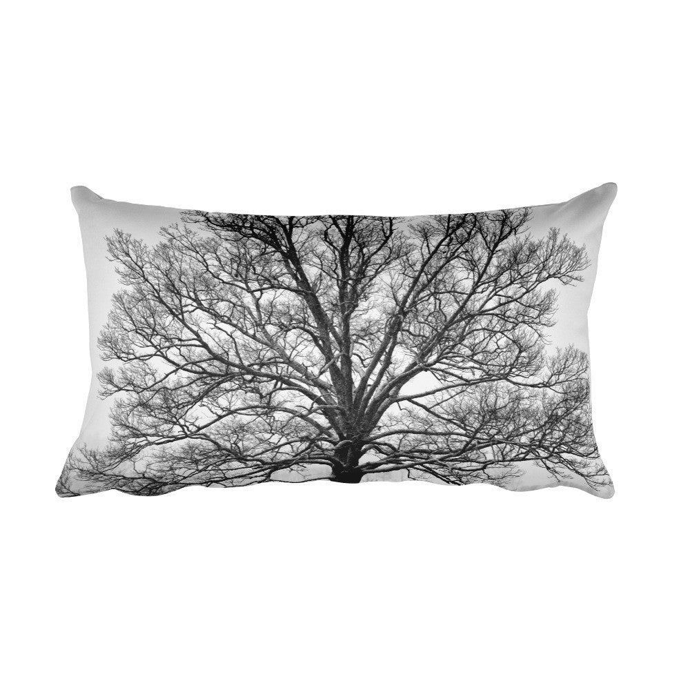 Exposed Black and White Tree Decorative Pillow