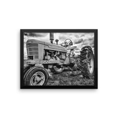 Big Red Framed Black and White Poster