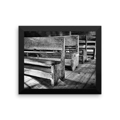 Black and White Rustic Church Pews Artwork