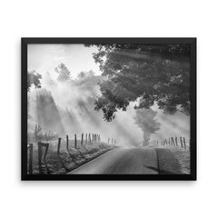 Misty Framed Black and White Poster