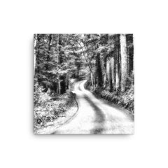 A Better Highway Black and White Digital Painting Canvas
