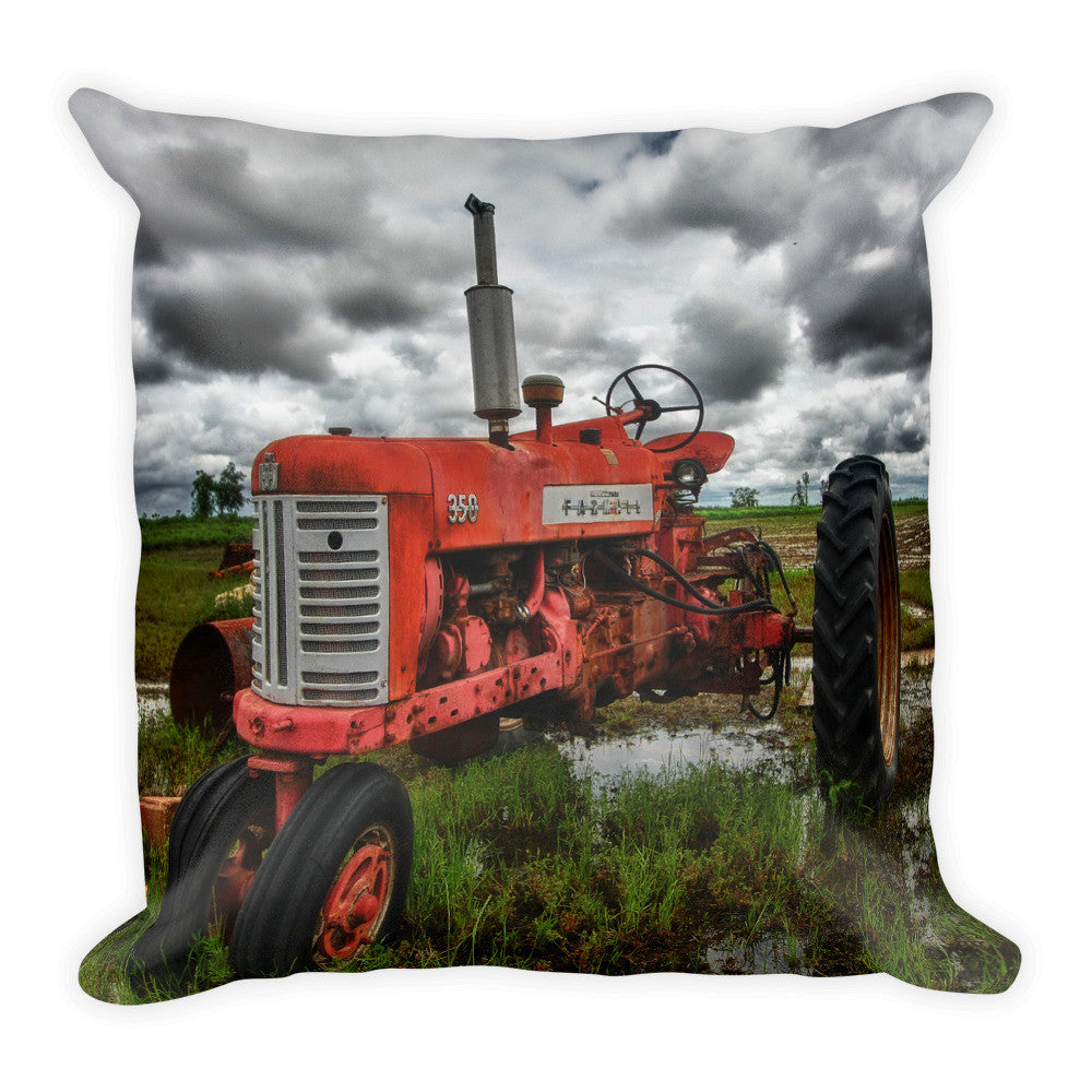 Old Steady Tractor Decorative Pillow