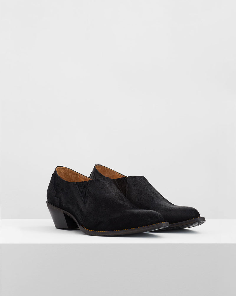 Suede Western Shoes – Black
