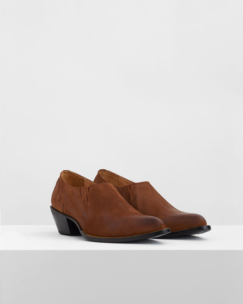 Suede Western Shoes – Camel