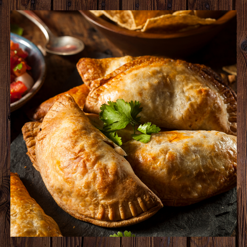 Chilean style empanadas stuffed with chicken