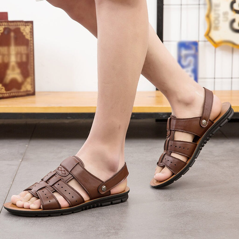 Casual Leather Adjustable Strap Sandals